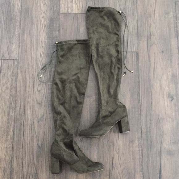 22147dc693c8 Nature Breeze Shoes | 8 Olive Green Over The Knee Boots | Poshmark